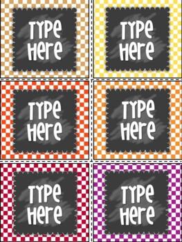 Editable Labels- Polka dot Labels