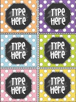 Editable Labels - Polka dot Labels