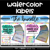 Editable Labels , Posters and Deskplates Bundle - Watercolor