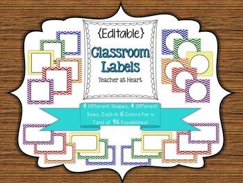 {Editable} Labels - Primary Color Chevron