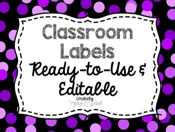 Editable Labels: Purple Confetti (Polka Dots)