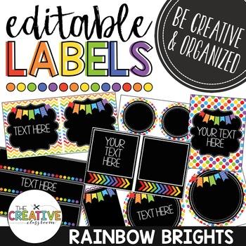 Editable Labels - Rainbow Brights