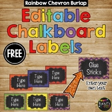 Editable Labels Rainbow Chevron Burlap & Chalkboard FREEBIE