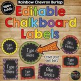 Editable Labels Rainbow Chevron Burlap & Chalkboard {Over 450 Labels}