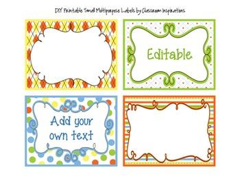 Editable Labels – Rectangle shape – Coordinates with Sock Monkey Theme