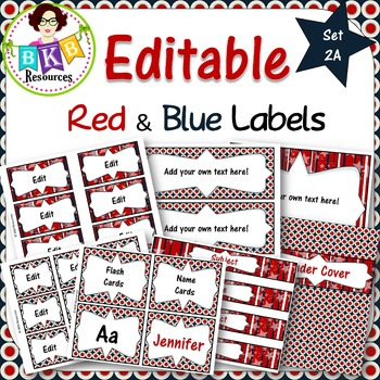 Editable Labels - Red & Blue Set 2A