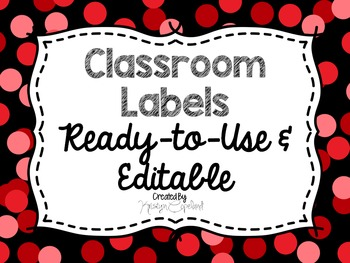 Editable Labels: Red Confetti (Polka Dots)