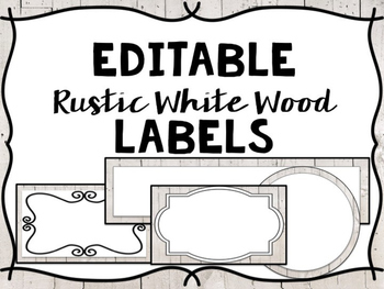 Editable Labels- White Wood