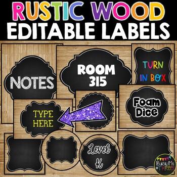 Editable Labels Rustic Wood & Chalkboard, Farmhouse {195 Labels}