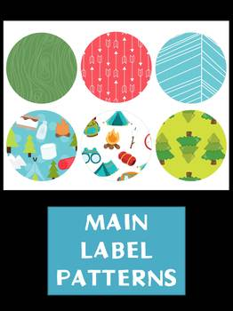Editable Labels Set : Outdoors Camping SET 2, Woods, Nature