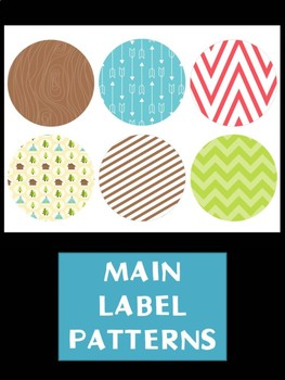 Editable Labels Set : Outdoors Camping, Woods, Nature