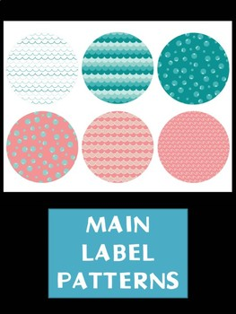 Editable Labels Set : Turquoise and Coral Sea, Ocean, Beach