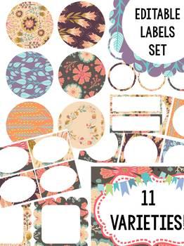 Editable Labels Set : Woodland Country Florals - SET 2