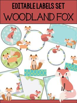 Editable Labels Set : Woodland Fox