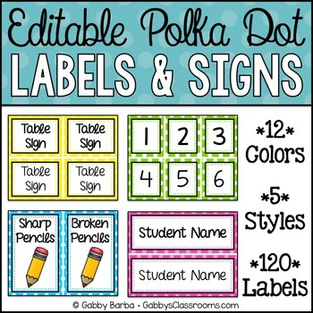 Editable Labels & Signs {Polka Dot - 120 Included!}