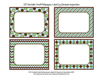 Editable Labels – Small Rectangle Multipurpose – Turtle Time Classroom Theme