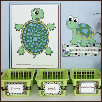 Editable Labels – Small Rectangle Multipurpose – Turtle Time Classroom Theme