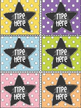 Editable Labels-Star Labels