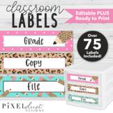 Editable Labels   Sterilite Drawers   Leopard Print Classroom Decor
