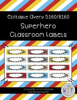 Editable Labels - Superhero Theme