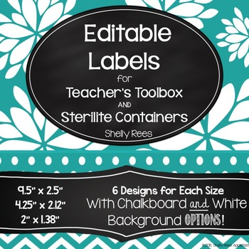 Teacher Toolbox Labels and Sterilite Labels - Editable