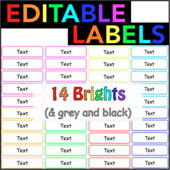 Editable Labels Vocabulary Cards Name Tags Word Wall BRIGHT Rainbow Colours