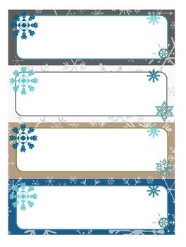Editable Labels: Winter Snowflakes