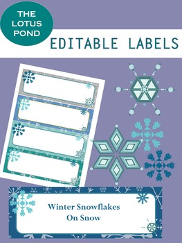 Editable Labels: Winter Snowflakes