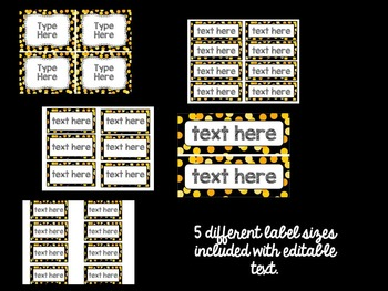 Editable Labels: Yellow Confetti (Polka Dots)
