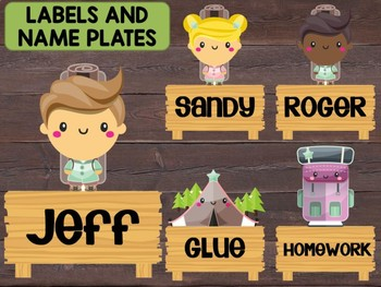 Editable Labels and Name Tags and Plates: Cute Camping