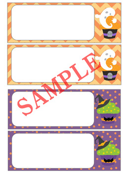 Editable Labels and Name Plates : Halloween Cupcakes