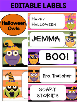 Editable Labels and Name Plates : Halloween Owls