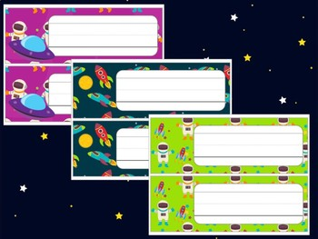 Editable Labels and Name Plates: Outer Space, Astronauts, Aliens