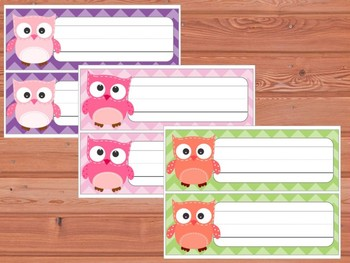 Editable Labels and Name Plates: Patchwork Owls and Chevron