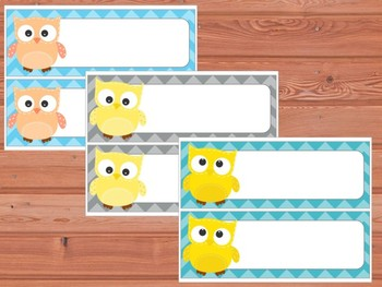 Editable Labels and Name Tags : Patchwork Owls and Chevron