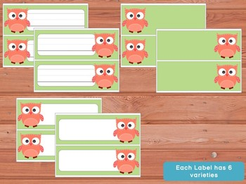 Editable Labels and Name Plates: Patchwork Owls and Solid Background