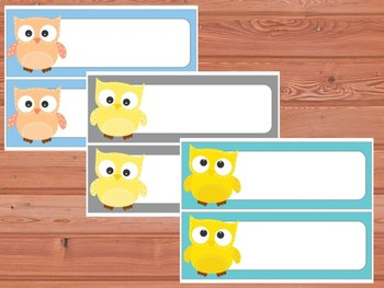 Editable Labels and Name Tags : Patchwork Owls and Solid Background