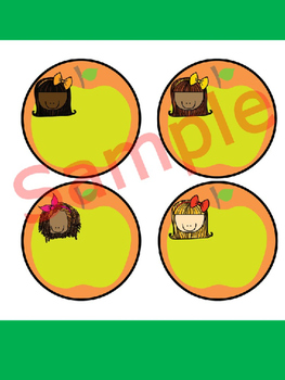 Editable Labels and Name Tags : Rainbow Kids and Apples