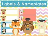 Editable Labels and Name Plates: School Animals