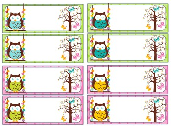 Editable Labels and Name Tags : Swinging Owls