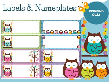 Editable Labels and Name Plates : Swinging Owls
