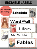 Editable Labels and Name Tags : Woodland Serenity