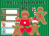 Editable Labels and Name Tags : Christmas Gingerbread Men