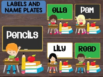 Editable Labels and Name Tags and Plates: Students at Desks