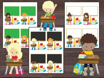 Editable Labels and Name Tags and Desk Plates: Students at Desks