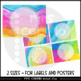 Editable Labels and Posters - Watercolor Rainbow