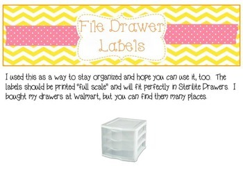 Editable Labels for 3-Drawer File Boxes {Yellow/Pink/Orange}