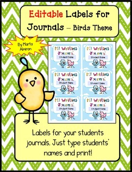 Editable Labels for Journals - Birds Theme