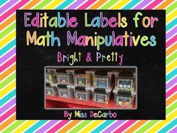 Editable Labels for Math Manipulatives and Organization {Bright & Pretty!}