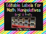 Editable Labels for Math Manipulatives and Organization {Bright & Pretty!}